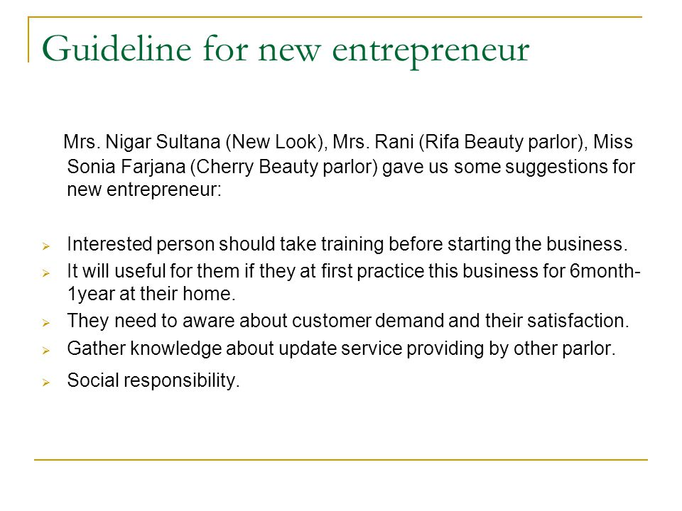 Guideline for new entrepreneur