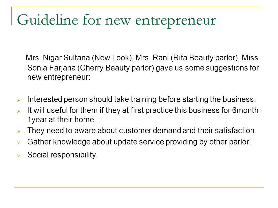 Guideline for new entrepreneur