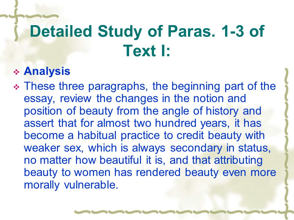 Detailed Study of Paras. 1-3 of Text I: