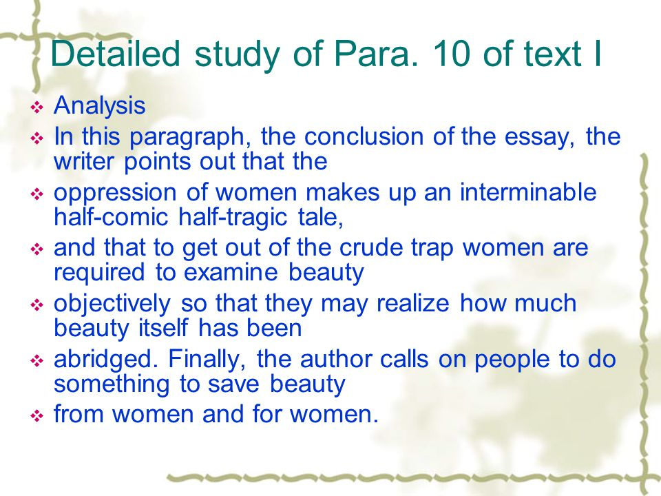 Detailed study of Para. 10 of text I