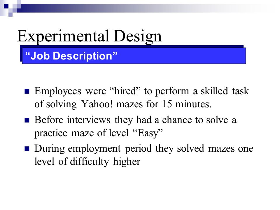 Experimental Design Job Description