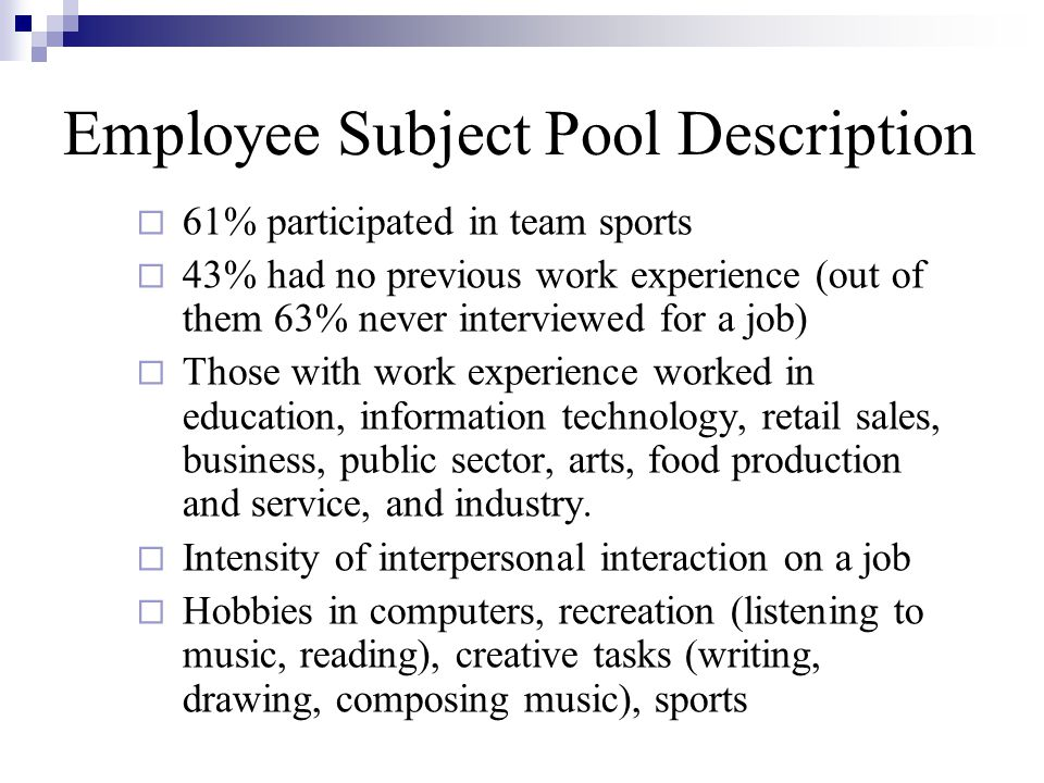 Employee Subject Pool Description