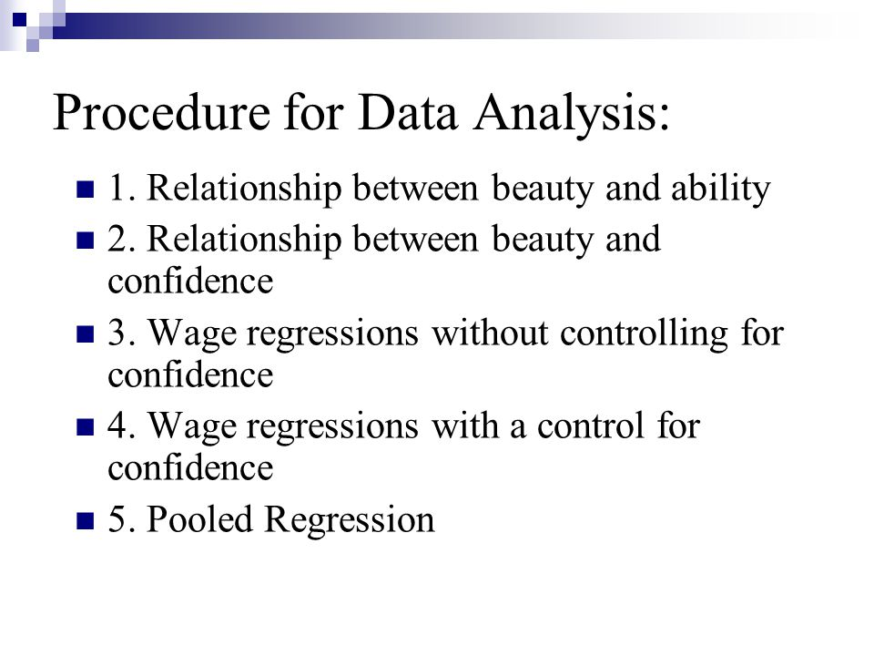 Procedure for Data Analysis: