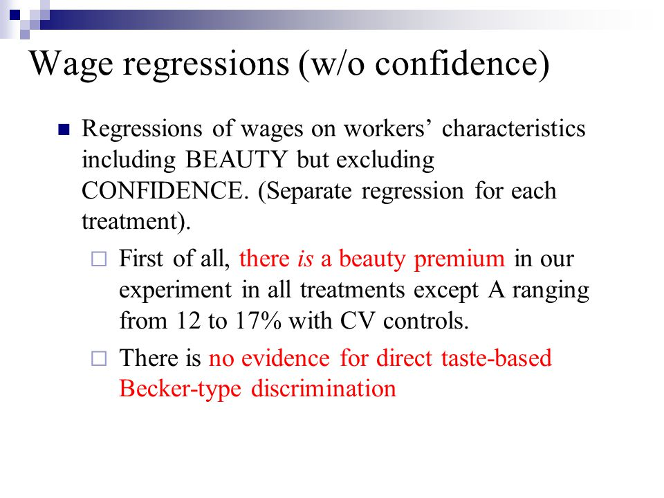 Wage regressions (w/o confidence)