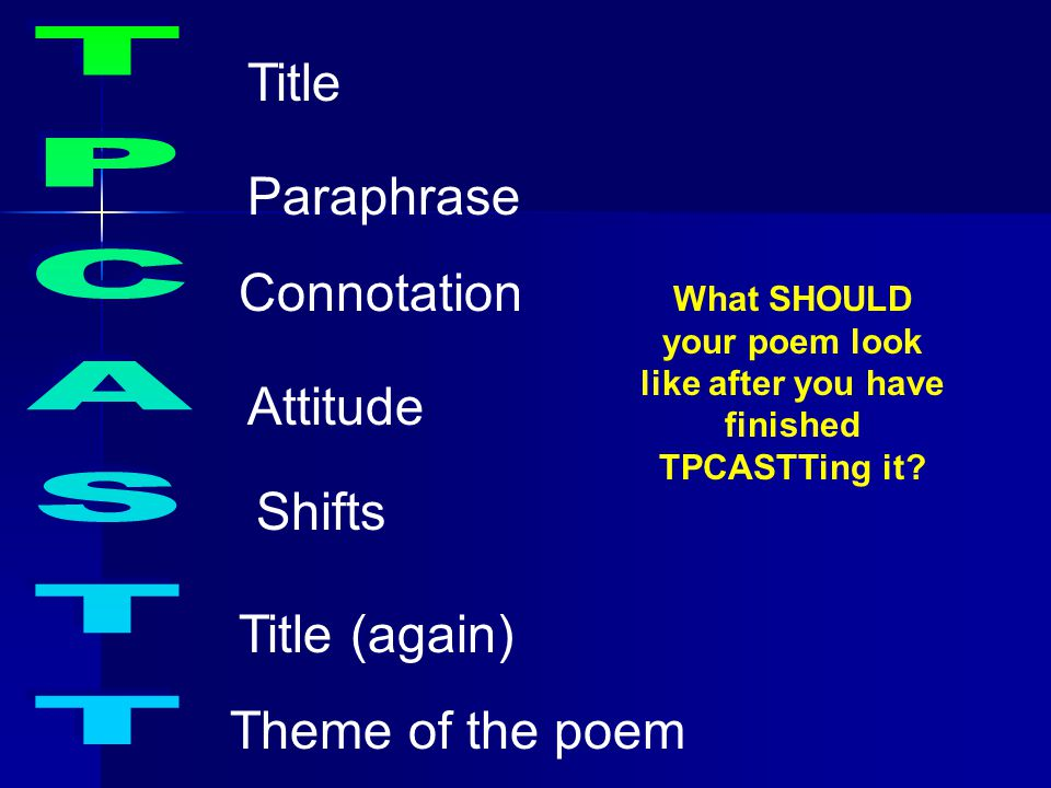 What SHOULD your poem look like after you have finished TPCASTTing it