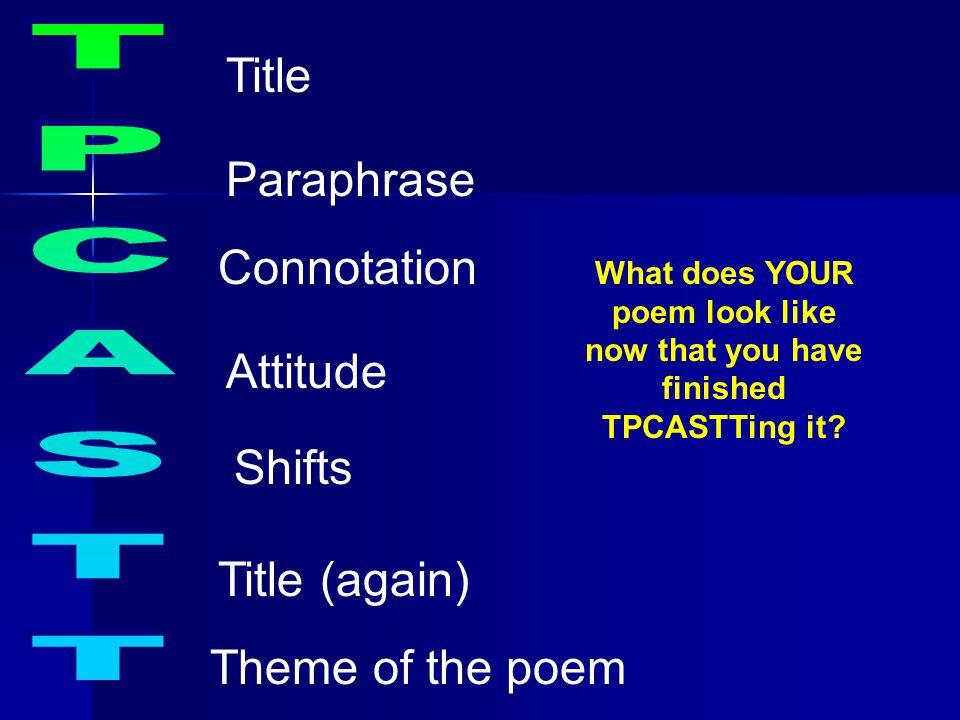 Title Paraphrase TPCASTT Connotation Attitude Shifts Title (again)