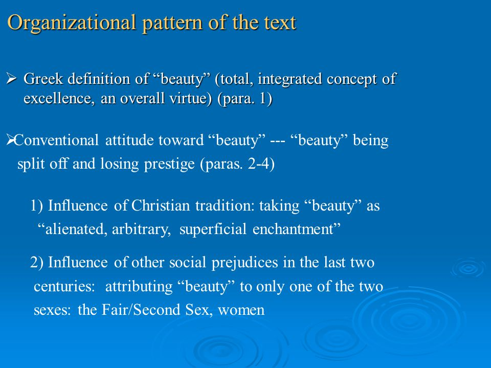 Organizational pattern of the text