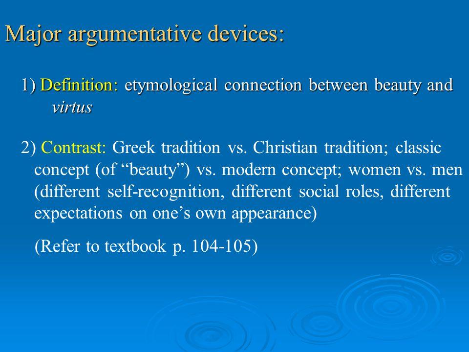 Major argumentative devices: