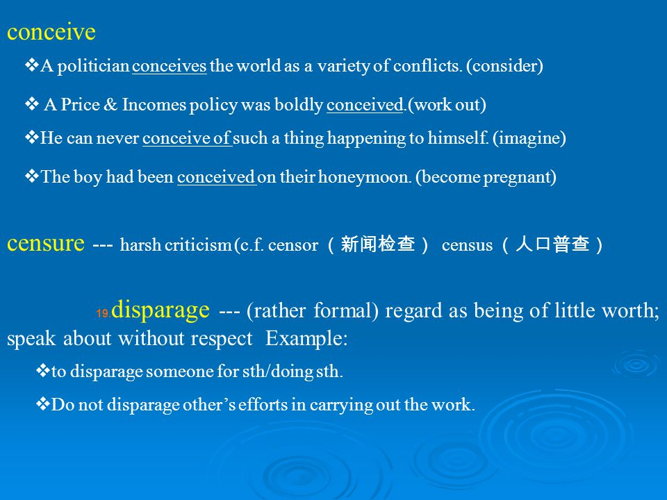 censure --- harsh criticism (c.f. censor (新闻检查) census (人口普查)