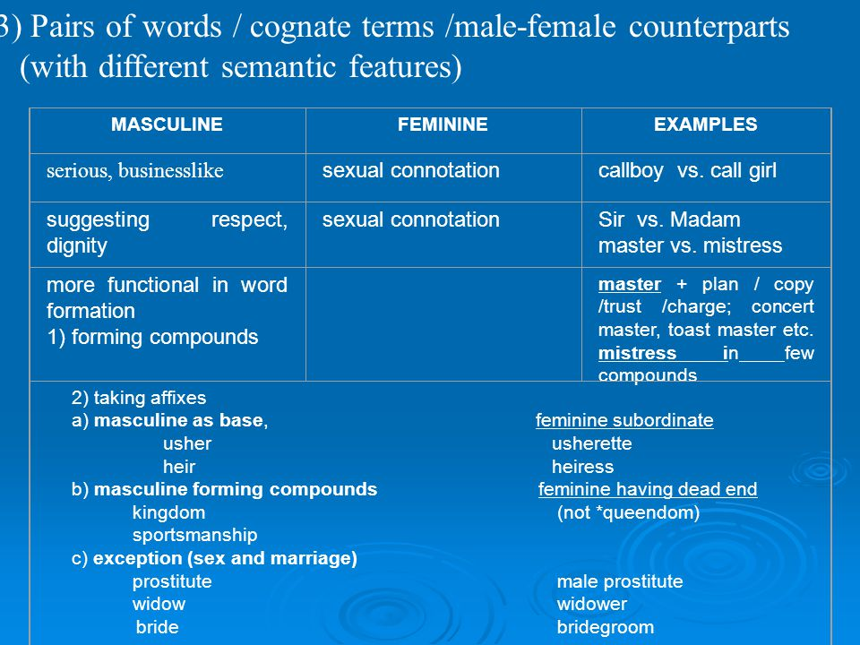 3) Pairs of words / cognate terms /male-female counterparts