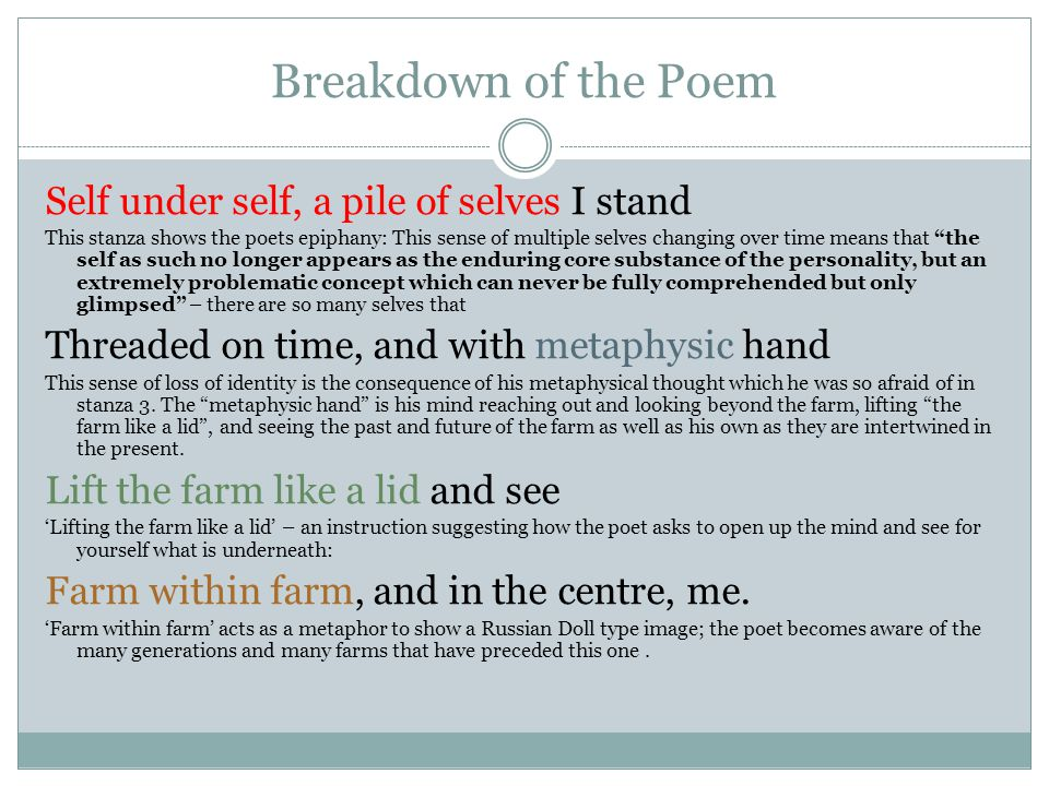 Breakdown of the Poem Self under self, a pile of selves I stand
