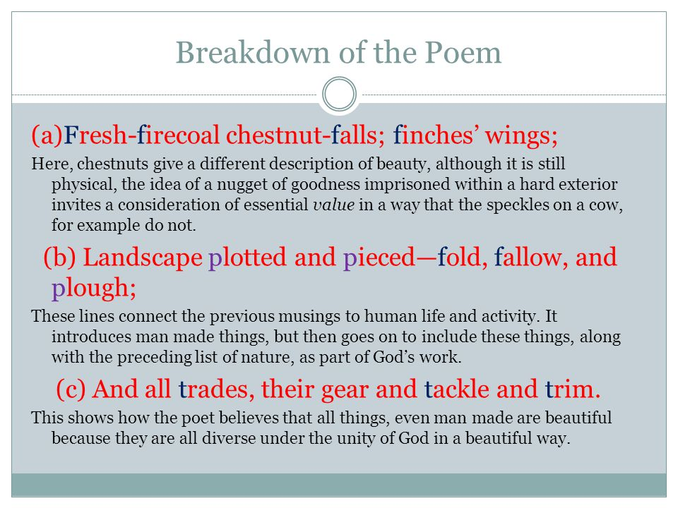 Breakdown of the Poem (a)Fresh-firecoal chestnut-falls; finches' wings;
