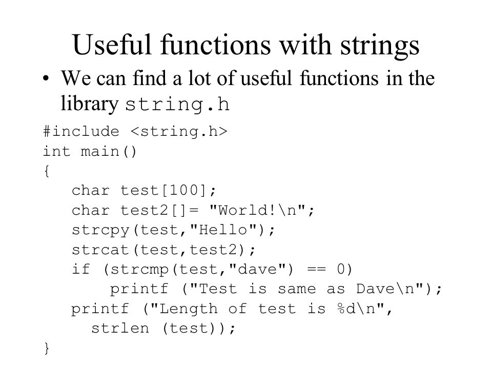 Useful functions with strings
