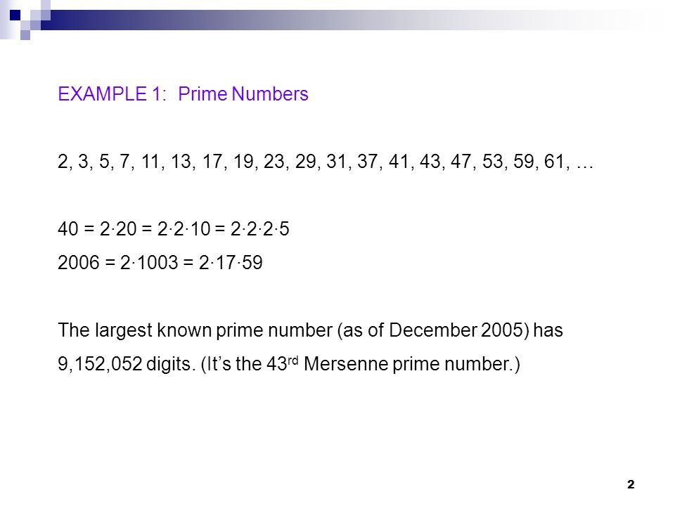 EXAMPLE 1: Prime Numbers