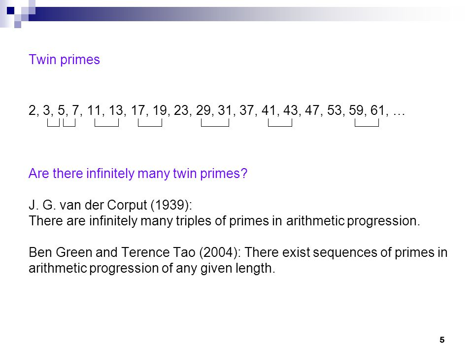 Are there infinitely many twin primes J. G. van der Corput (1939):