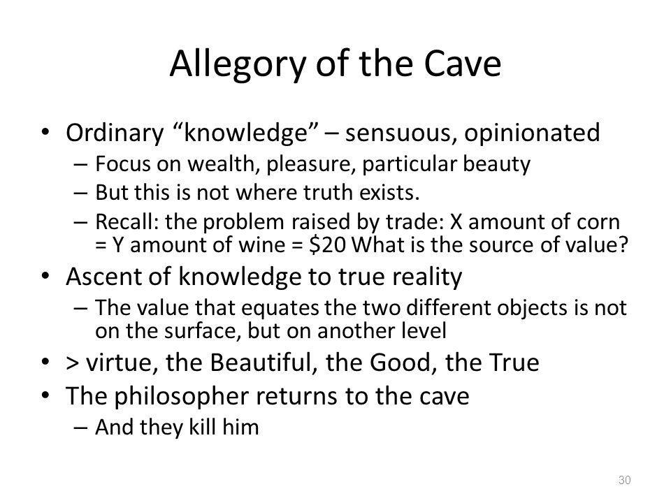 Allegory of the Cave Ordinary knowledge – sensuous, opinionated