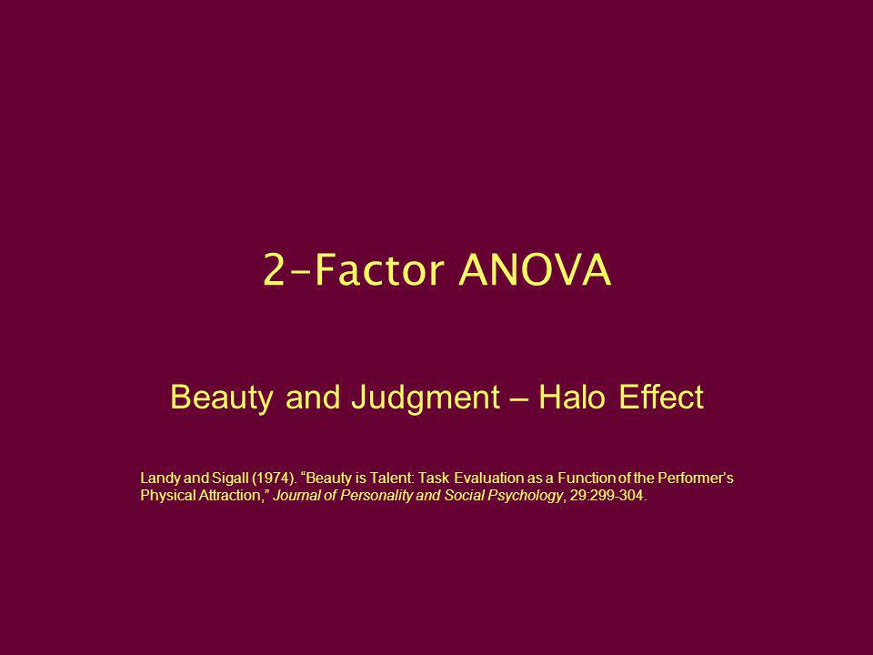 Beauty and Judgment – Halo Effect
