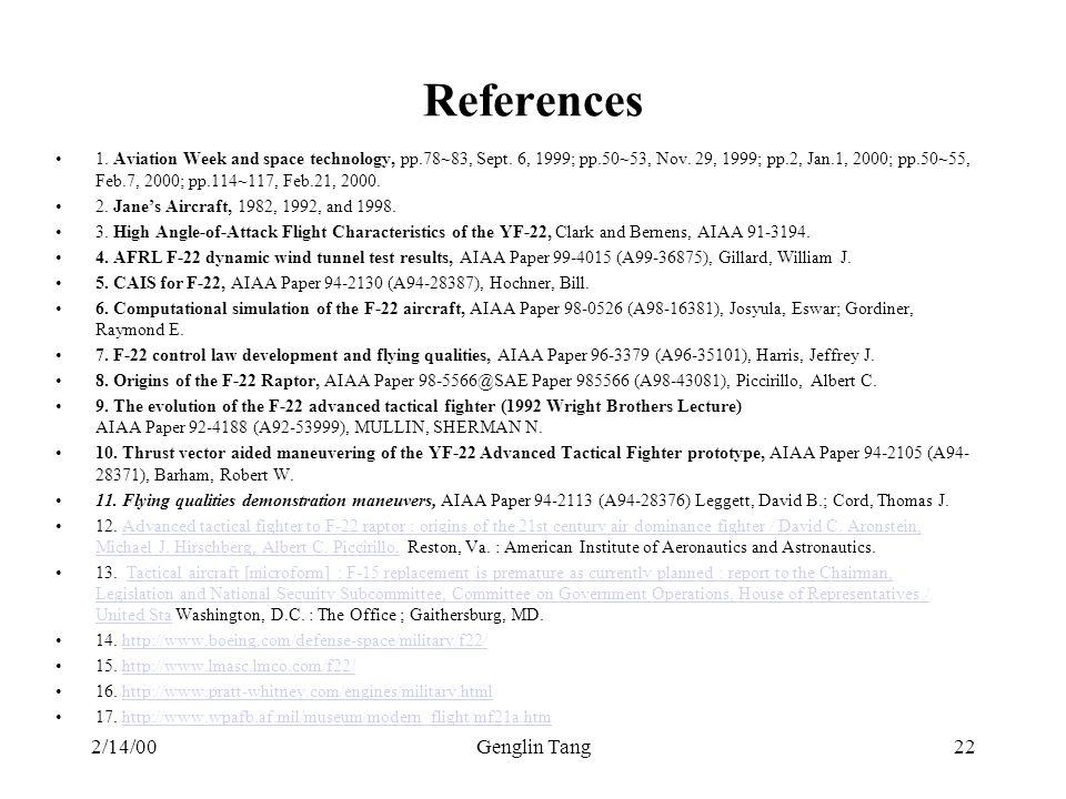 References 2/14/00 Genglin Tang