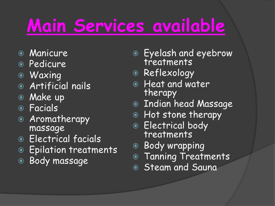 Main Services available