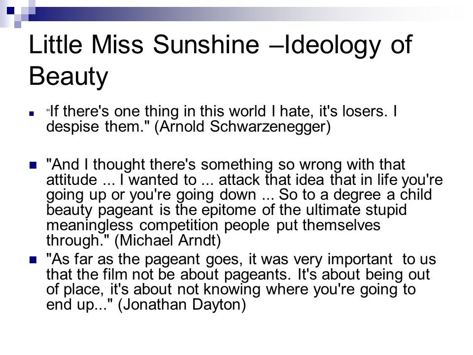 Little Miss Sunshine –Ideology of Beauty