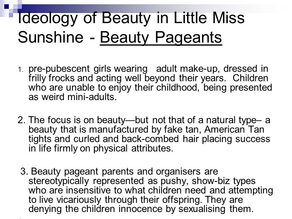 Ideology of Beauty in Little Miss Sunshine - Beauty Pageants
