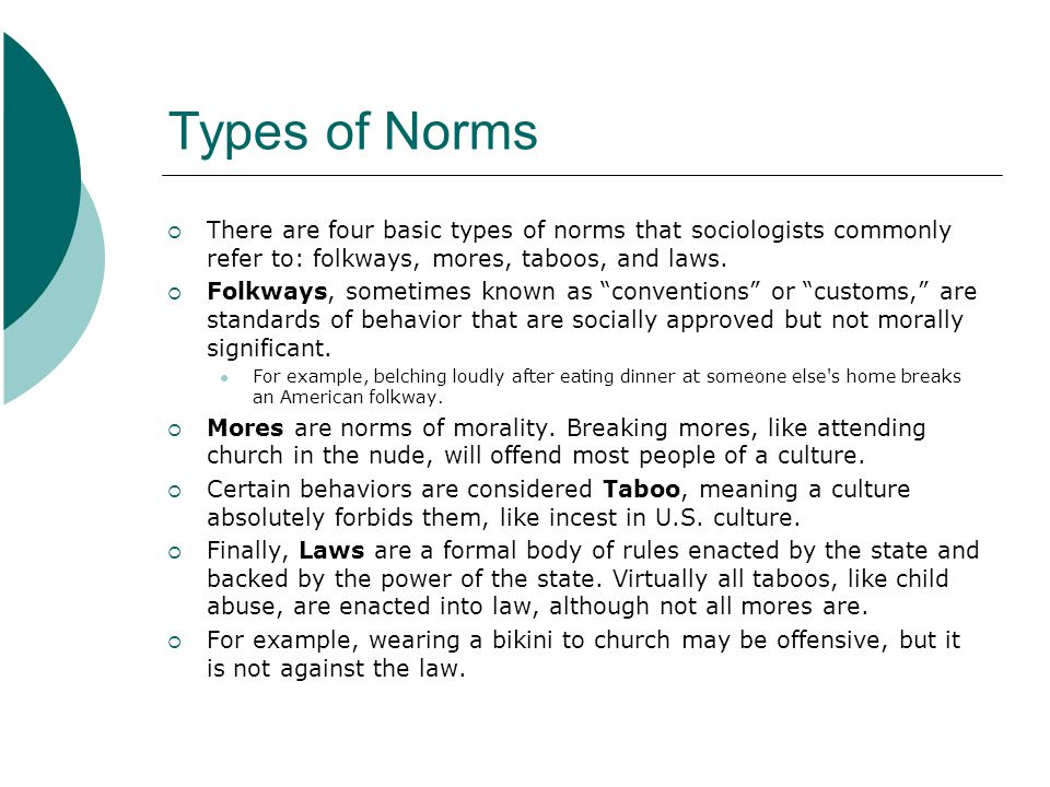 Types of Norms There are four basic types of norms that sociologists commonly refer to: folkways, mores, taboos, and laws.