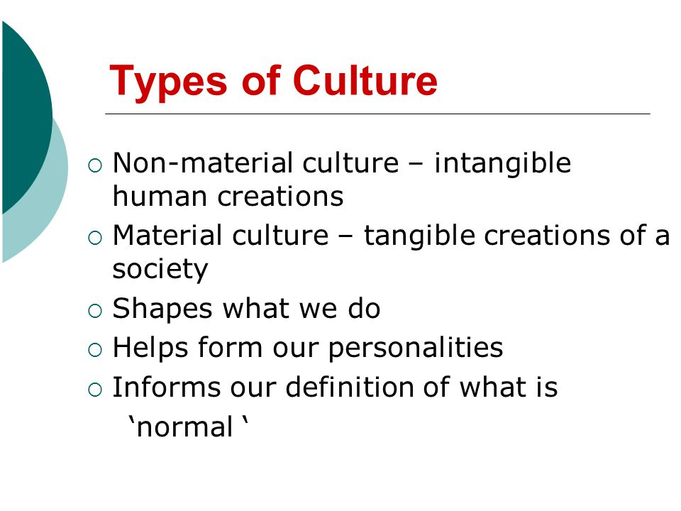 Types of Culture Non-material culture – intangible human creations