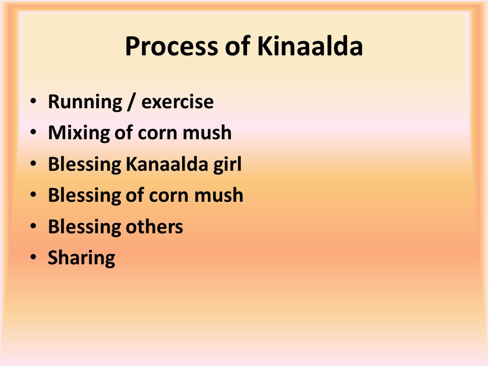 Process of Kinaalda Running / exercise Mixing of corn mush