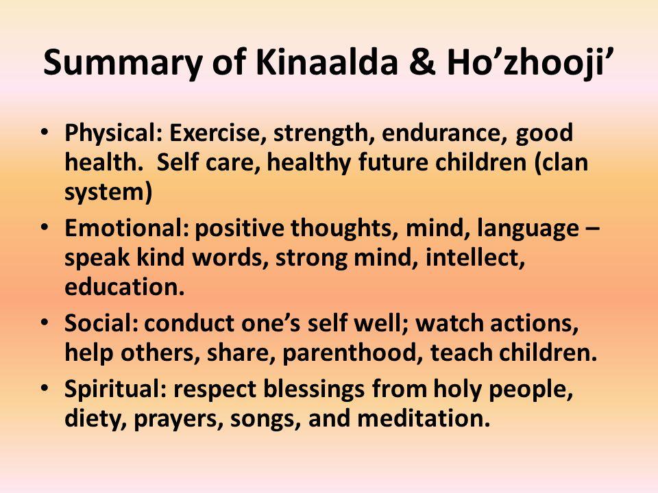Summary of Kinaalda & Ho'zhooji'