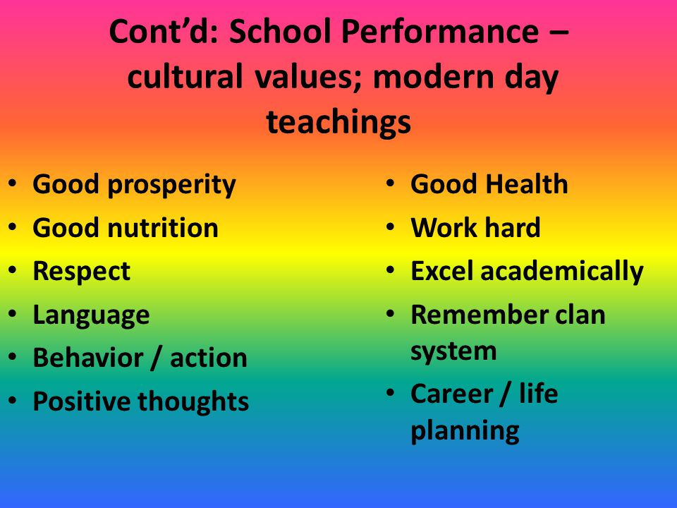 Cont'd: School Performance – cultural values; modern day teachings