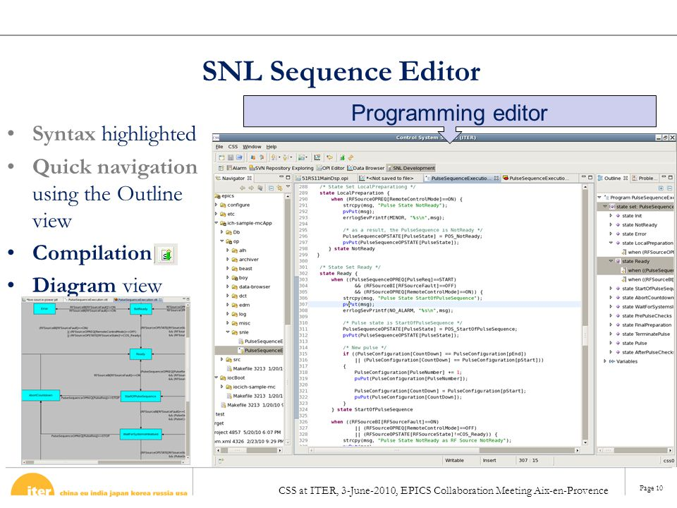 SNL Sequence Editor Programming editor Syntax highlighted