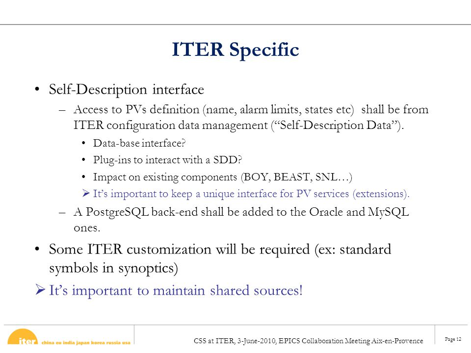 ITER Specific Self-Description interface