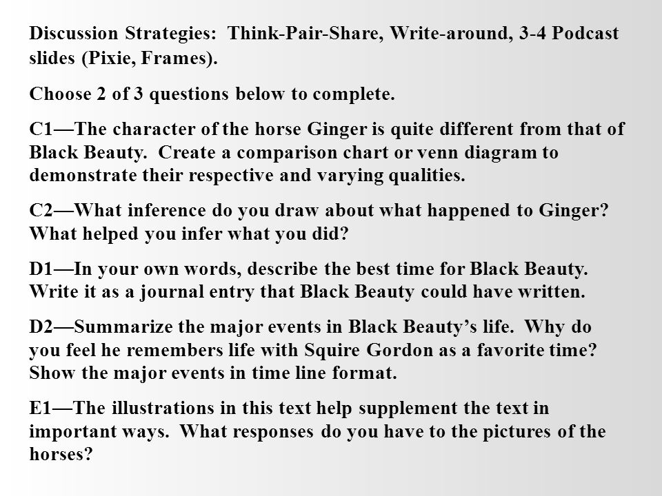 Discussion Strategies: Think-Pair-Share, Write-around, 3-4 Podcast slides (Pixie, Frames).