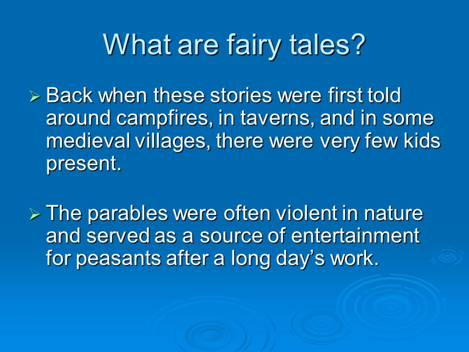 What are fairy tales