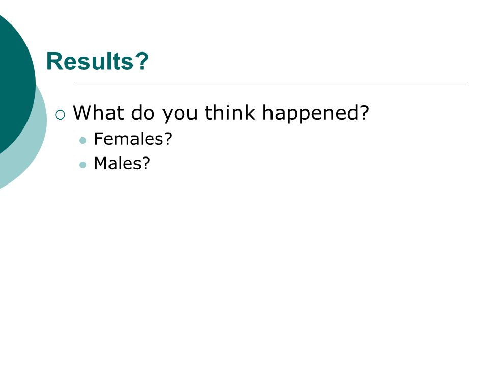 Results What do you think happened Females Males