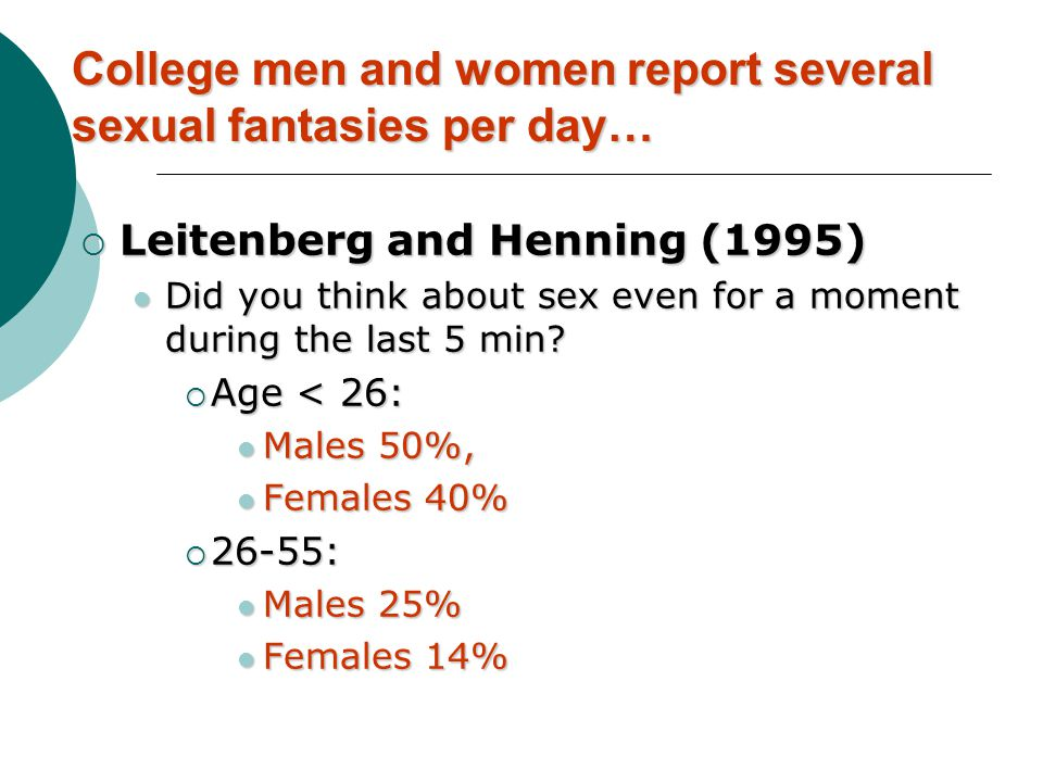 College men and women report several sexual fantasies per day…