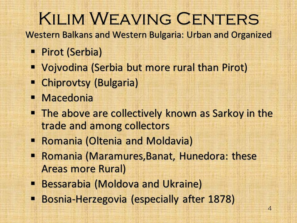 Kilim Weaving Centers Western Balkans and Western Bulgaria: Urban and Organized