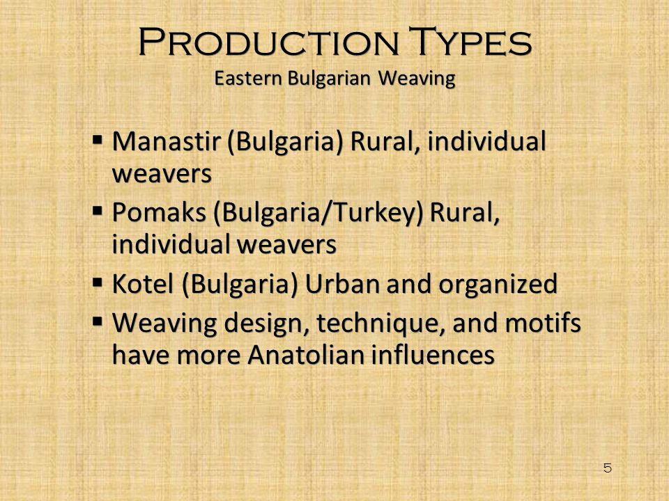 Production Types Eastern Bulgarian Weaving