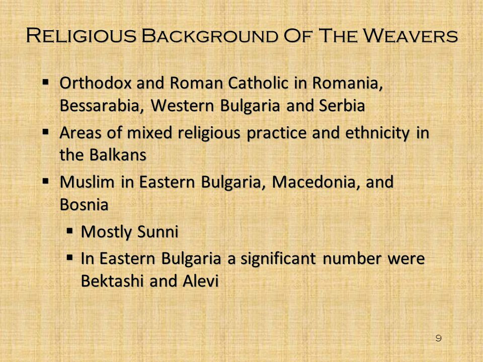 Religious Background Of The Weavers