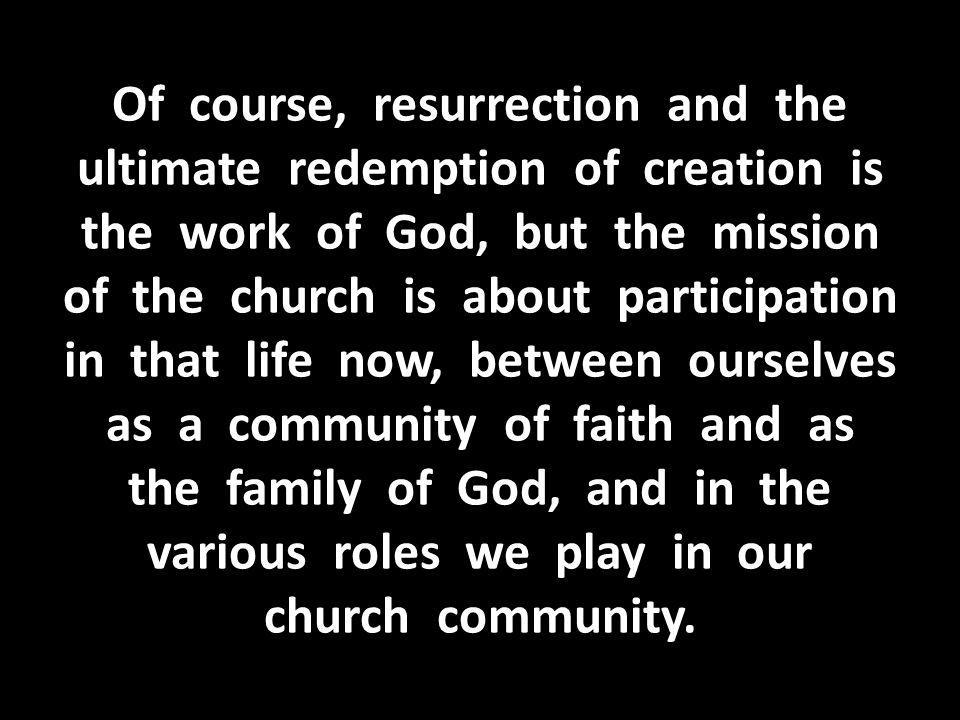 Of course, resurrection and the ultimate redemption of creation is the work of God, but the mission of the church is about participation in that life now, between ourselves as a community of faith and as the family of God, and in the various roles we play in our church community.