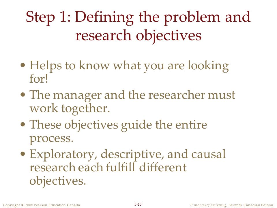 Step 1: Defining the problem and research objectives