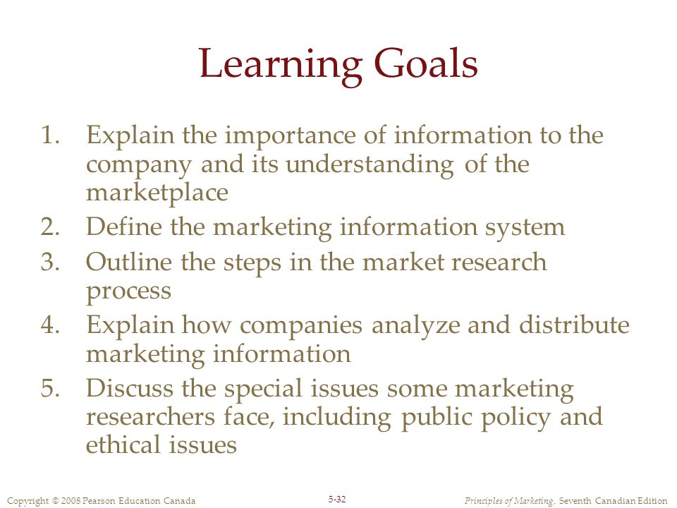 Learning Goals Explain the importance of information to the company and its understanding of the marketplace.