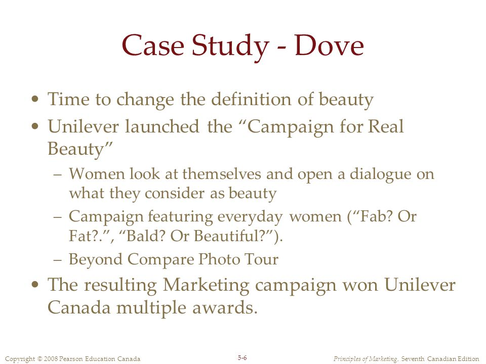 Case Study - Dove Time to change the definition of beauty