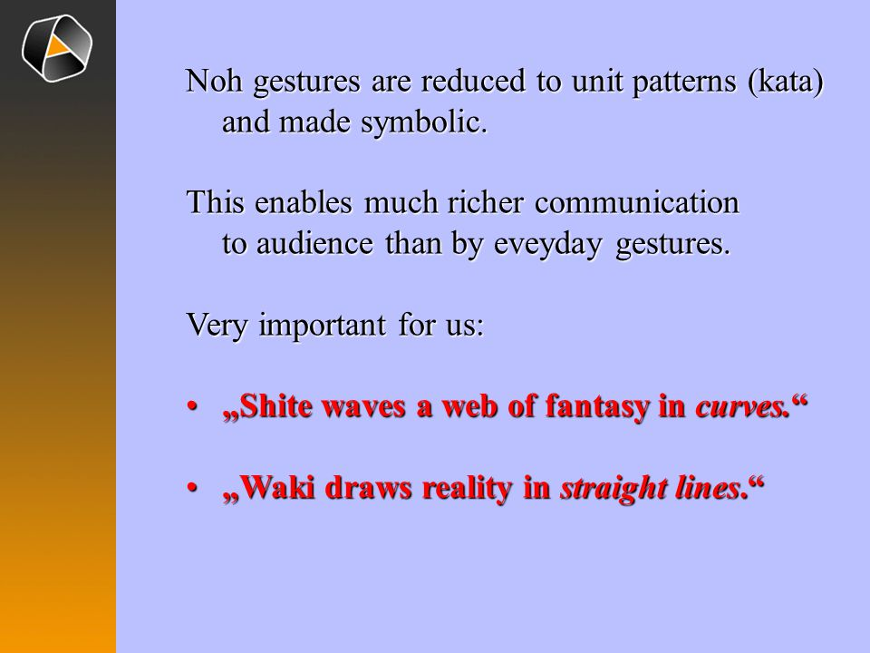 Noh gestures are reduced to unit patterns (kata) and made symbolic.