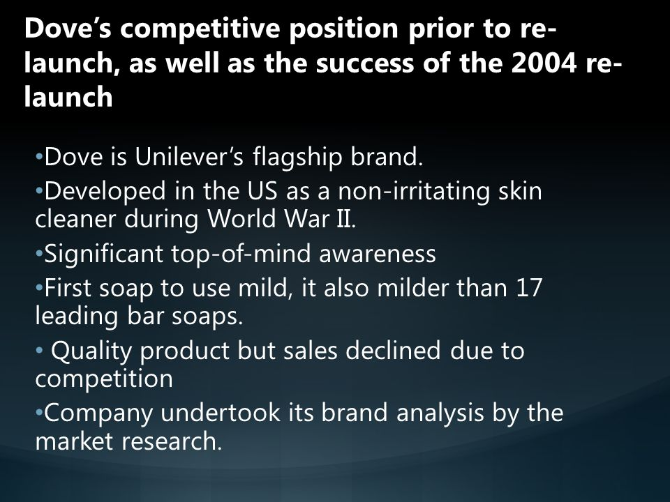 Dove's competitive position prior to re-launch, as well as the success of the 2004 re-launch