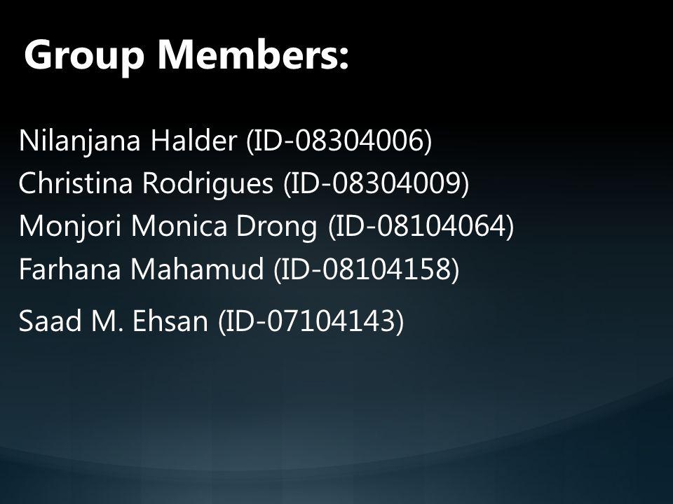 Group Members: Nilanjana Halder (ID-08304006)