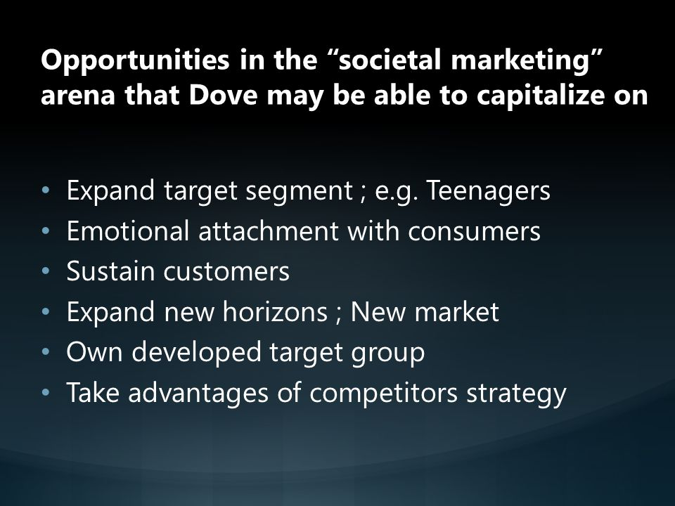 Opportunities in the societal marketing arena that Dove may be able to capitalize on