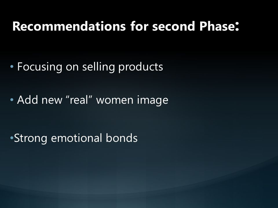 Recommendations for second Phase: