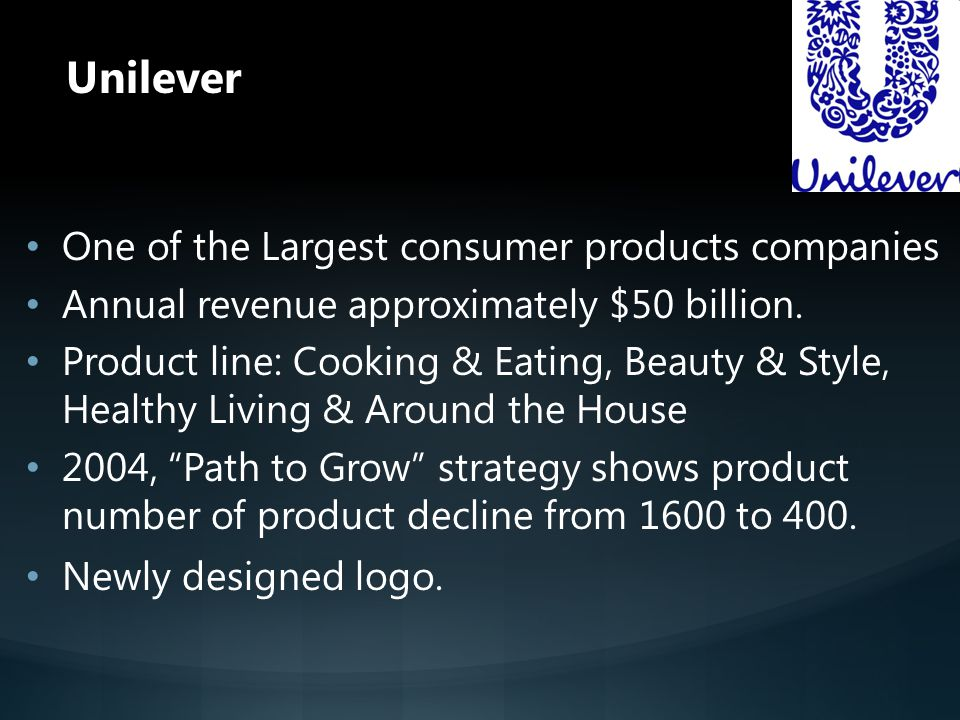 Unilever One of the Largest consumer products companies