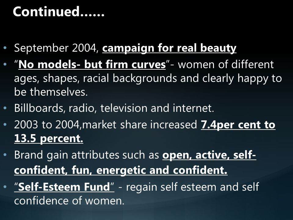 Continued…… September 2004, campaign for real beauty